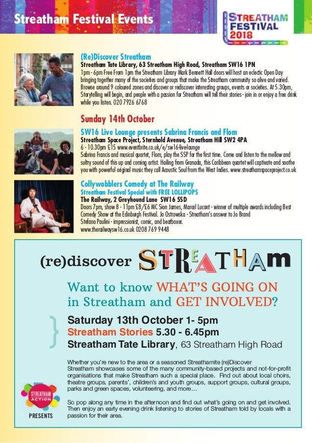 Pulloutandpresentthismap ineachvenuefor promotions! END Join us for a live music pub crawl down Streatham High Road! 1pm S...