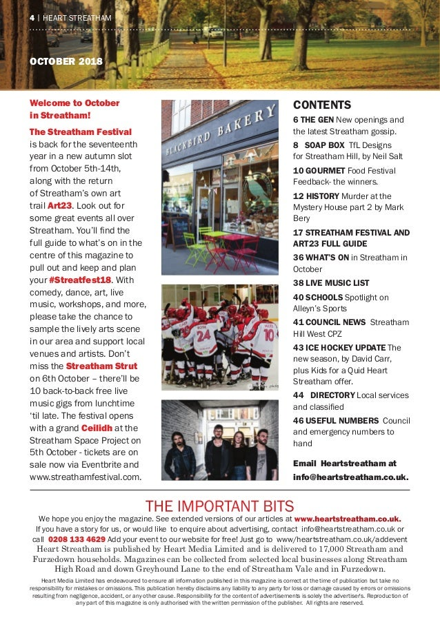 oCTober 2018 the ImPOrtaNt BIts We hope you enjoy the magazine. see extended versions of our articles at www.heartstreatha...