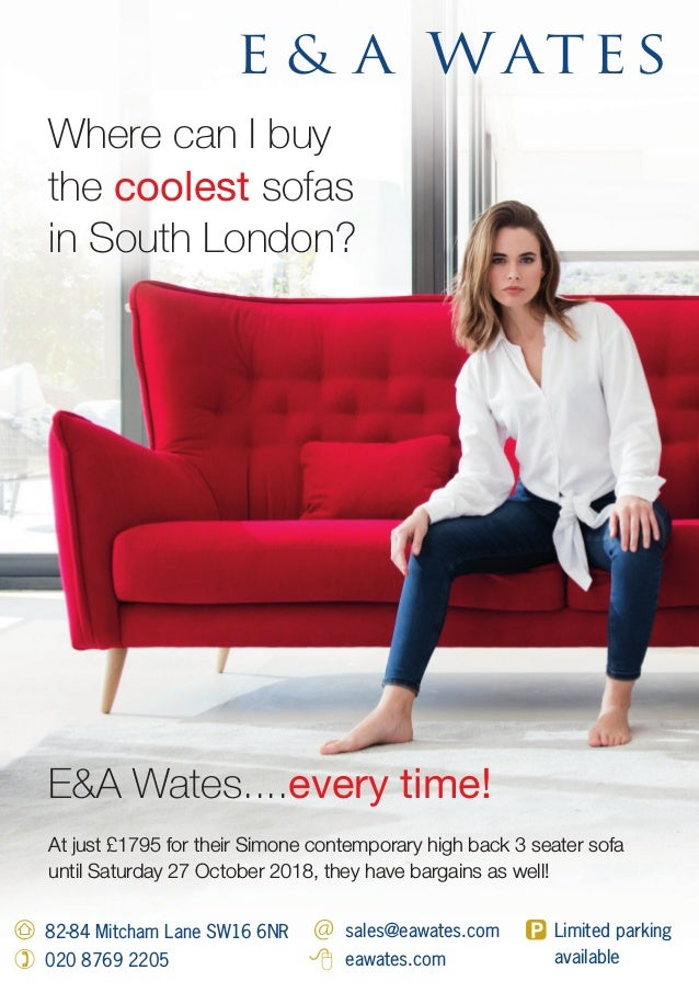 Where can I buy the coolest sofas in South London? At just £1795 for their Simone contemporary high back 3 seater sofa unt...