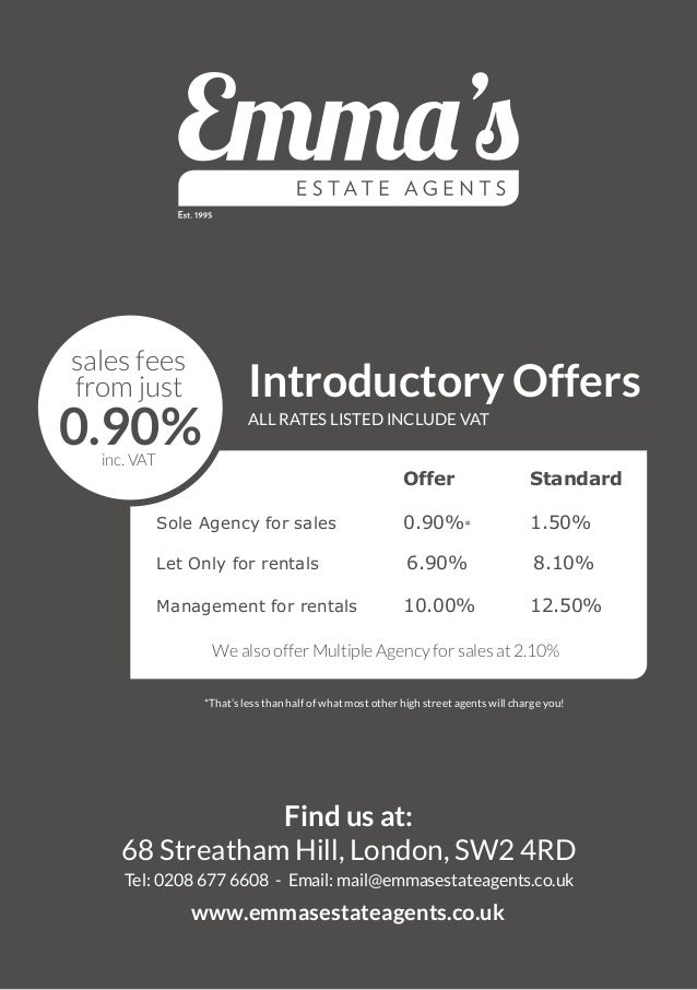 ALL RATES LISTED INCLUDE VAT Offer Standard Sole Agency for sales 0.90%* 1.50% Let Only for rentals 6.90% 8.10% Management...