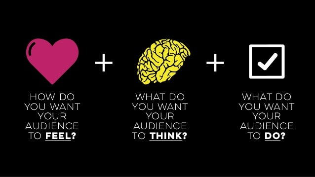 + + how do you want your audience to feel? what do you want your audience to think? what do you want your audience to do?