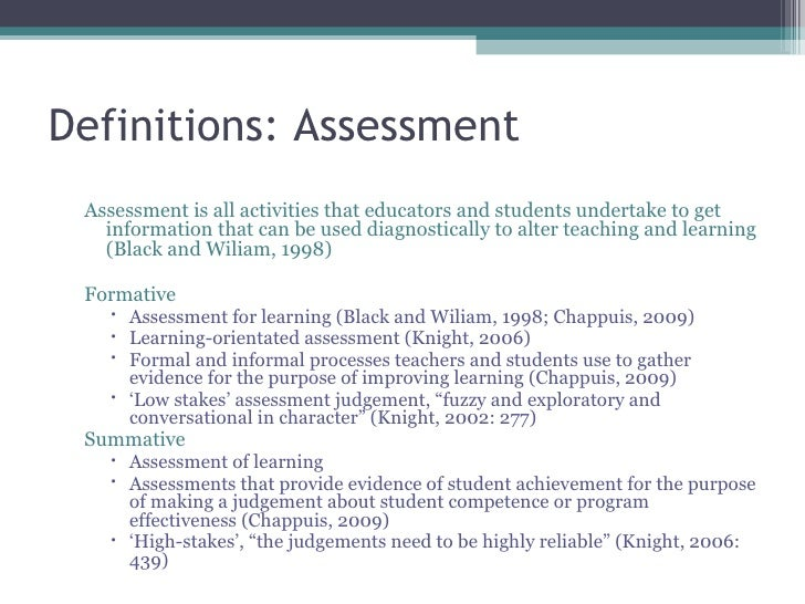 literature review on formative assessment in Assessments are formative, therefore, if and only if something is contingent on  literature review to find out whether formative assessment could lead to an.