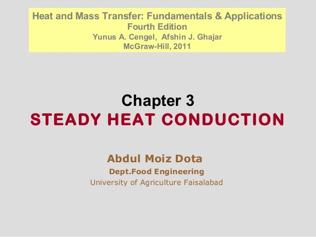 Chapter 3 STEADY HEAT CONDUCTION Abdul Moiz Dota Dept.Food Engineering University of Agriculture Faisalabad Heat and Mass ...