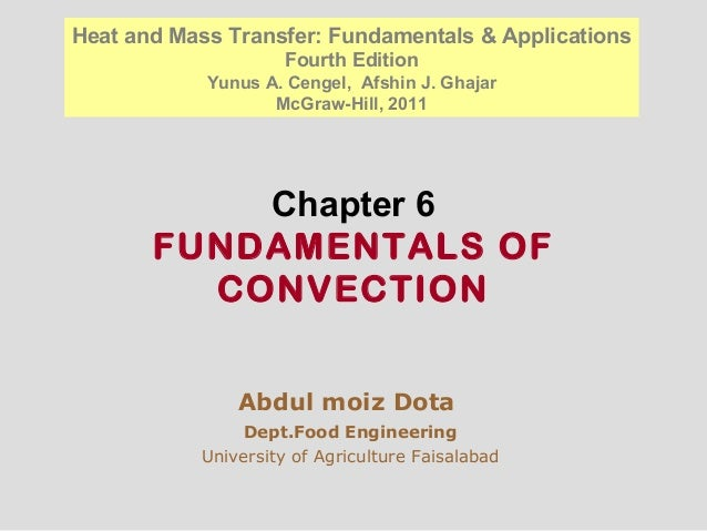 Chapter 6 FUNDAMENTALS OF CONVECTION Abdul moiz Dota Dept.Food Engineering University of Agriculture Faisalabad Heat and M...