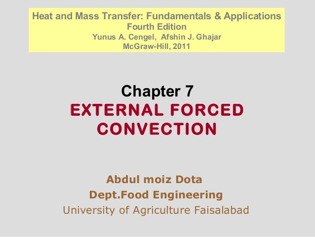 Chapter 7 EXTERNAL FORCED CONVECTION Abdul moiz Dota Dept.Food Engineering University of Agriculture Faisalabad Heat and M...