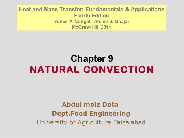 Chapter 9 NATURAL CONVECTION Abdul moiz Dota Dept.Food Engineering University of Agriculture Faisalabad Heat and Mass Tran...
