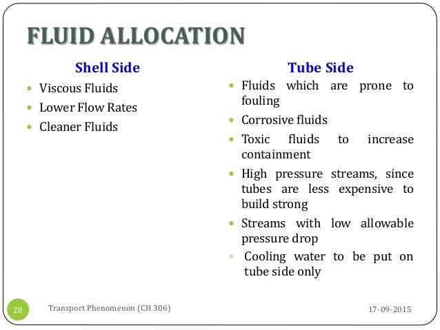 FLUID ALLOCATION Shell Side  Viscous Fluids  Lower Flow Rates  Cleaner Fluids Tube Side  Fluids which are prone to fou...