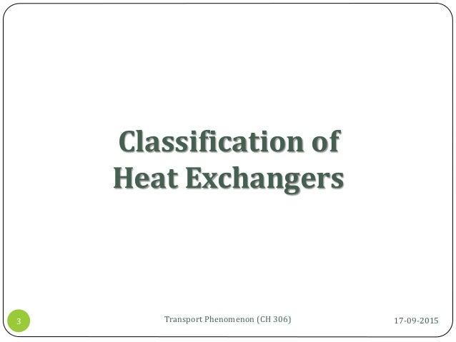 Classification of Heat Exchangers 17-09-2015Transport Phenomenon (CH 306)3