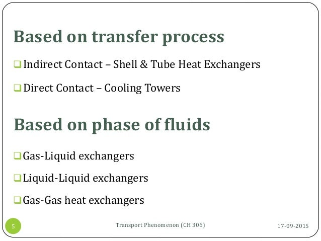 Based on transfer process 17-09-2015Transport Phenomenon (CH 306)5 Indirect Contact – Shell & Tube Heat Exchangers Direc...
