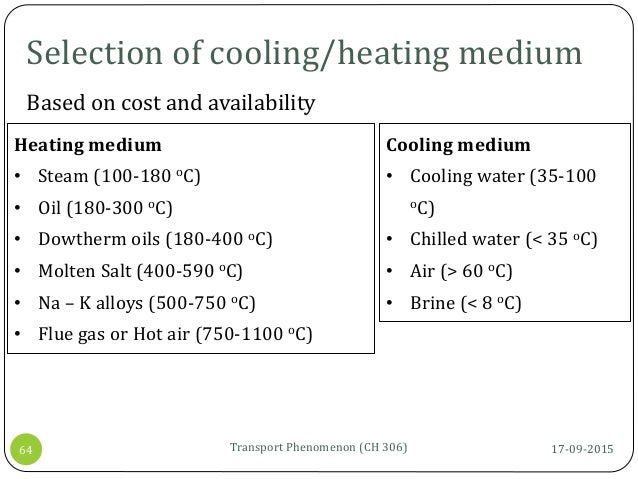 Selection of cooling/heating medium 17-09-2015Transport Phenomenon (CH 306)64 Based on cost and availability Cooling mediu...