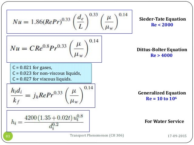 17-09-2015Transport Phenomenon (CH 306)83 Sieder-Tate Equation Re < 2000 Dittus-Bolter Equation Re > 4000 Generalized Equa...