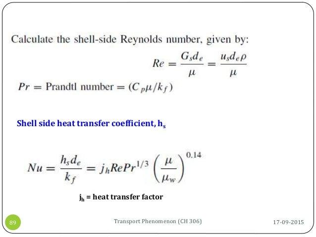17-09-2015Transport Phenomenon (CH 306)89 Shell side heat transfer coefficient, hs jh = heat transfer factor