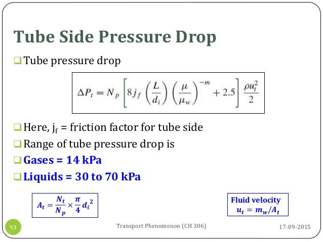 Tube Side Pressure Drop 17-09-2015Transport Phenomenon (CH 306)93 Tube pressure drop Here, jf = friction factor for tube...