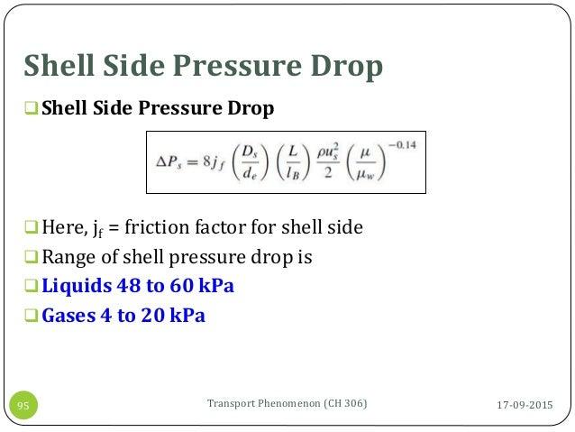 Shell Side Pressure Drop 17-09-2015Transport Phenomenon (CH 306)95 Shell Side Pressure Drop Here, jf = friction factor f...