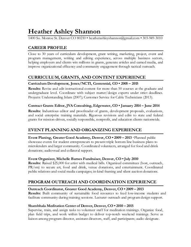 Heather Ashley Shannon Mission Resume