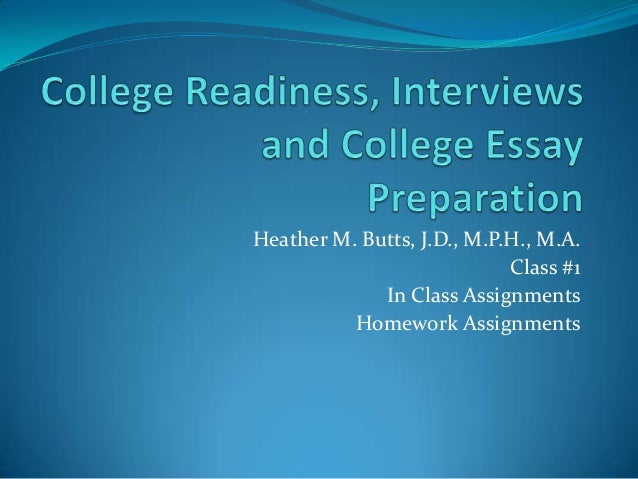 Heather M. Butts, J.D., M.P.H., M.A. Class #1 In Class Assignments Homework Assignments