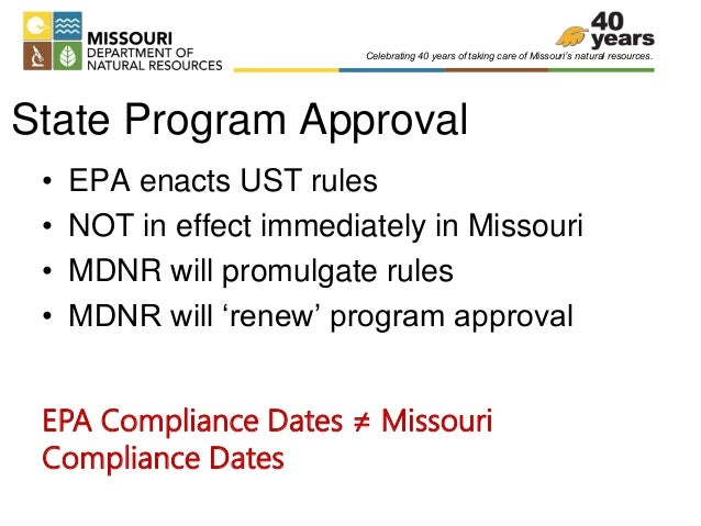 Peters, Heather, MDNR, UST Rule Changes, at 2014 Missouri