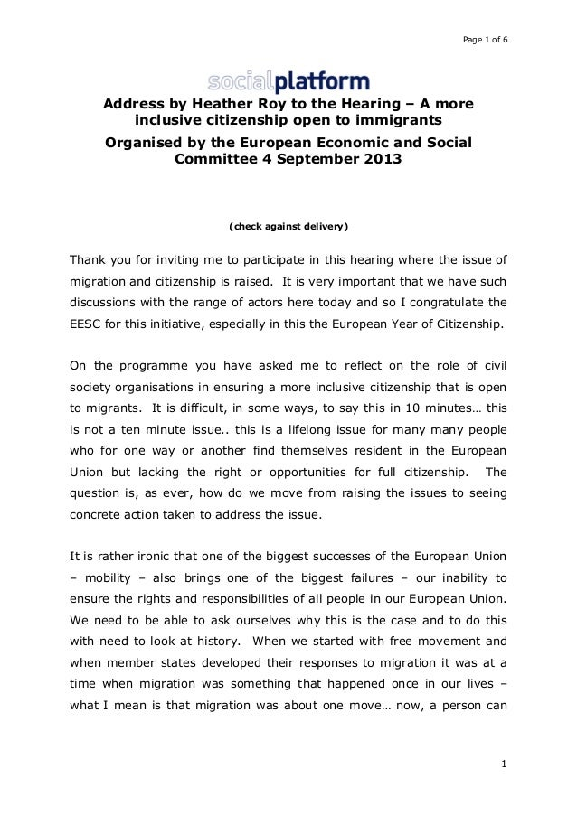 Page 1 of 6  Address by Heather Roy to the Hearing – A more inclusive citizenship open to immigrants Organised by the Euro...