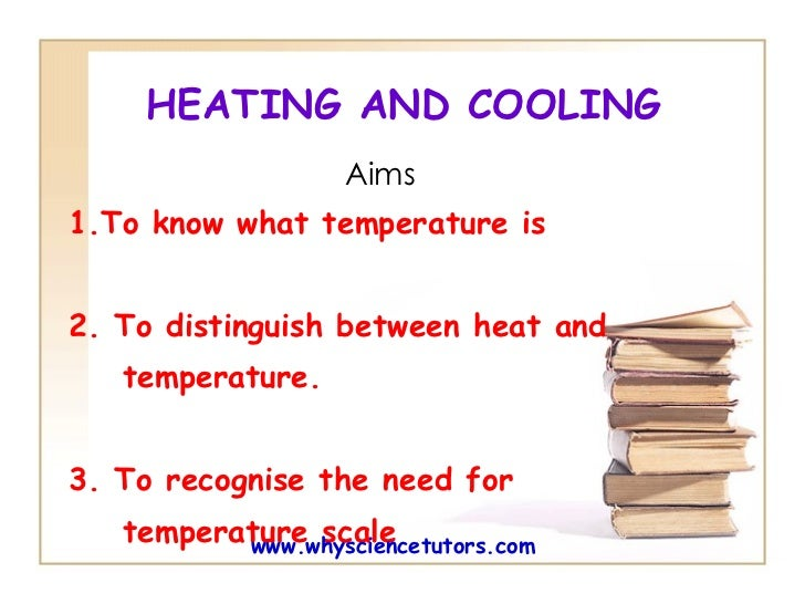 HEATING AND COOLING Aims 1.To know what temperature is  2. To  distinguish between heat and  temperature. 3. To recognise ...