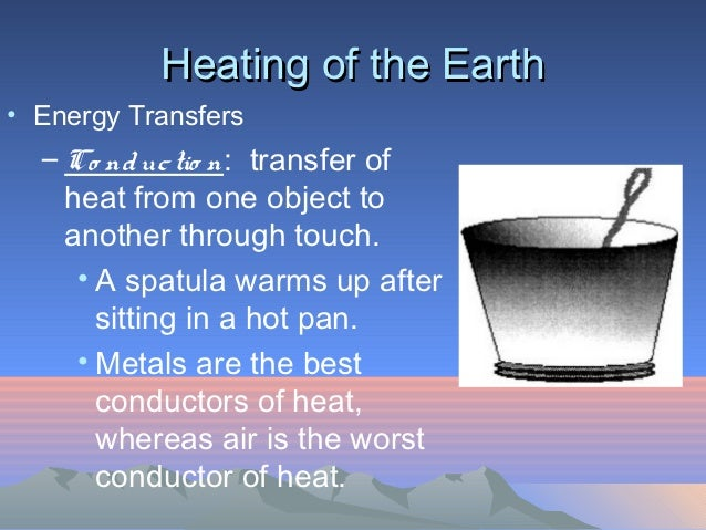 Heating of the Earth• Energy Transfers  – Co nd uc tio n: transfer of    heat from one object to    another through touch....