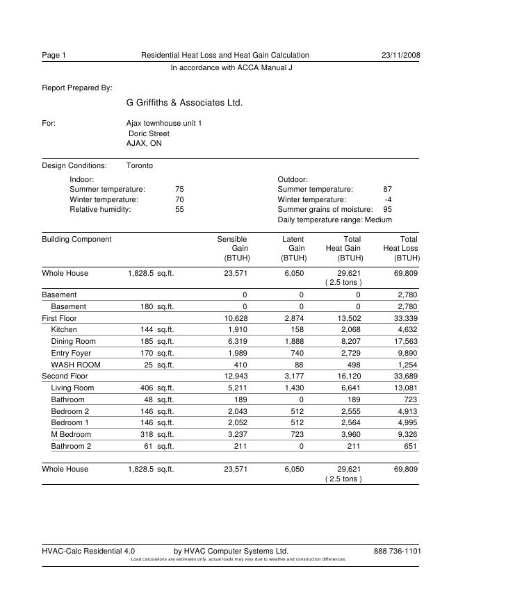 Page 1                      Residential Heat Loss and Heat Gain Calculation                                               ...