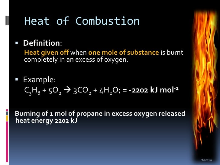 Heat of combustion of Various Alcohols