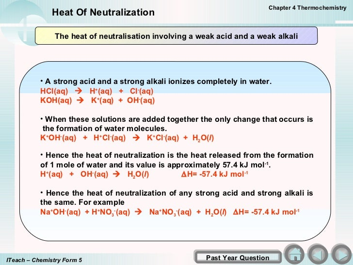 determination of enthalpy change of neutralization Note: the net ionic equation for this neutralization reaction is: h+ + oh− → h 2o(l) in the post-lab, you will calculate the ∆hneutralization in kj/mol for this net ionic reaction from the ∆hf o data in the appendix in your textbook and compare it to your experimental value part b: heat of solution of two salts: nh4no3 and mgso4 1.