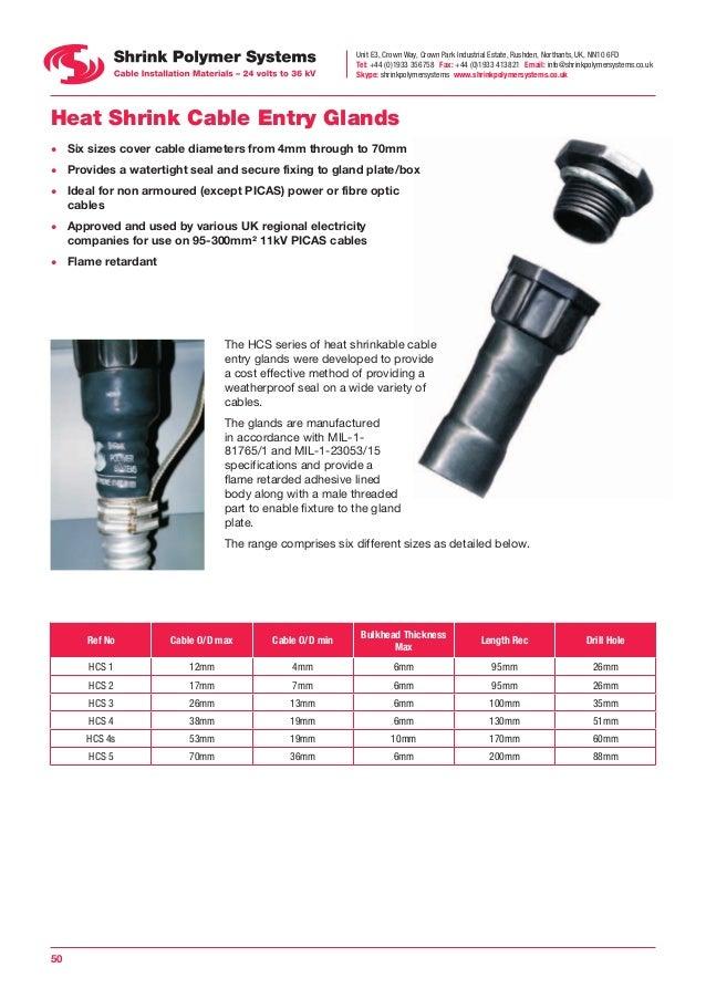 Sps Heat Shrink Cable Glands Hcs1 4 12mm