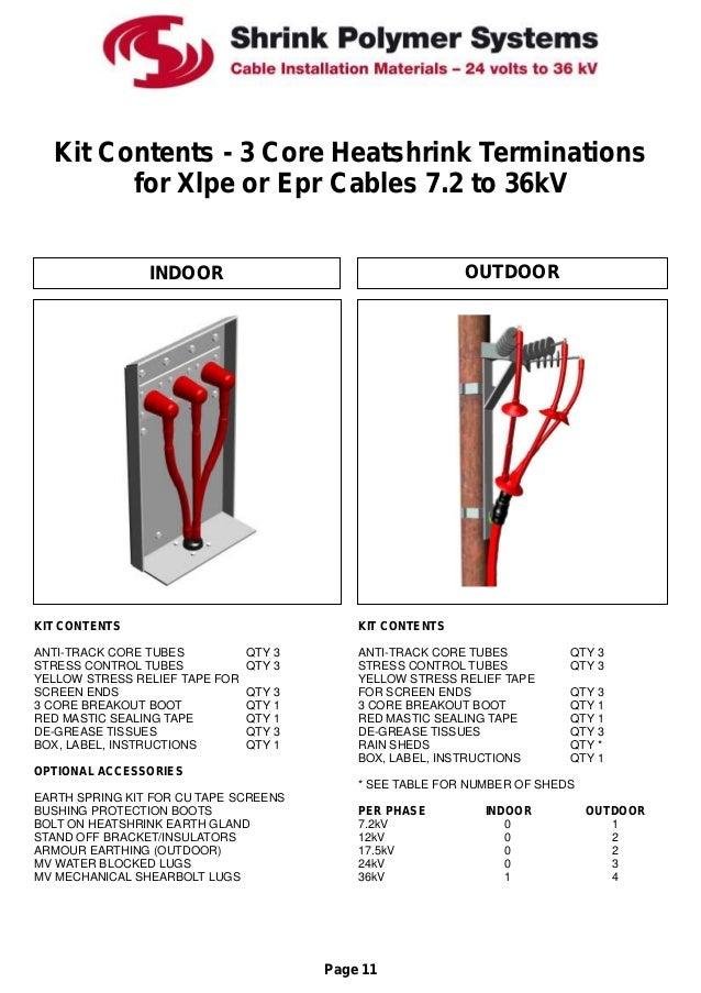 Heat Shrink Cable Joints Cable Terminations Lv Hv 66kv 11kv 33kv Sps Catalogue