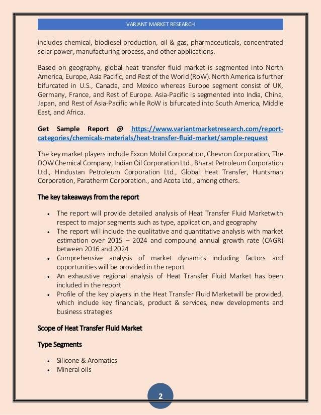 Heat Transfer Fluid Market Global Scenario, Market Size