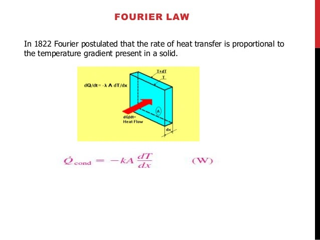 FOURIER LAW  In 1822 Fourier postulated that the rate of heat transfer is proportional to  the temperature gradient presen...