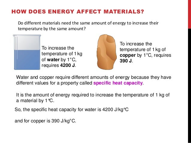 HOW DOES ENERGY AFFECT MATERIALS?  Do different materials need the same amount of energy to increase their  temperature by...