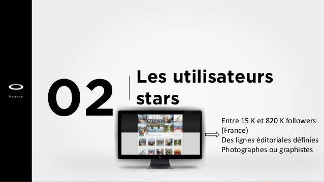 Les utilisateurs stars 02 Entre 15 K et 820 K followers (France) Des lignes éditoriales définies Photographes ou graphistes