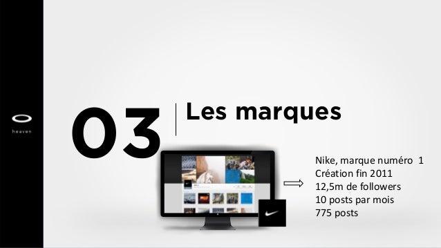 Les marques 03 Nike, marque numéro 1 Création fin 2011 12,5m de followers 10 posts par mois 775 posts