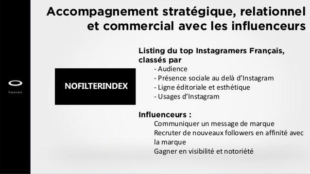 Accompagnement stratégique, relationnel et commercial avec les influenceurs Listing du top Instagramers Français, classés ...