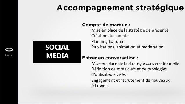 Accompagnement stratégique Compte de marque : Mise en place de la stratégie de présence Création du compte Planning Editor...