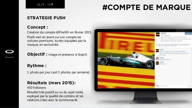 STRATEGIE PUSH Concept : Création du compte @PirelliFr en février 2015. Pirelli met en avant sur son compte les voitures p...