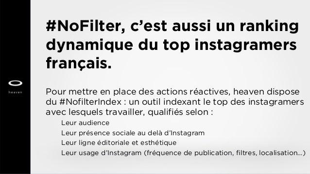 #NoFilter, c'est aussi un ranking dynamique du top instagramers français. Pour mettre en place des actions réactives, heav...