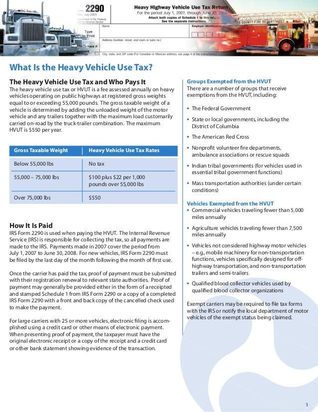 Heavy Vehicle Use Tax Form 2290