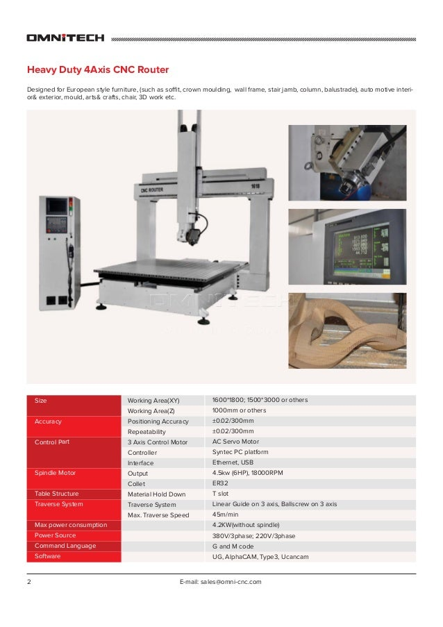 2 E-mail: sales@omni-cnc.com Heavy Duty 4Axis CNC Router Designed for European style furniture, (such as soffit, crown mou...