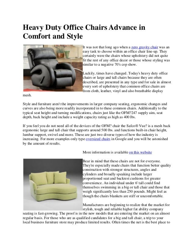Heavy Duty Office Chairs Advance In Comfort And Style