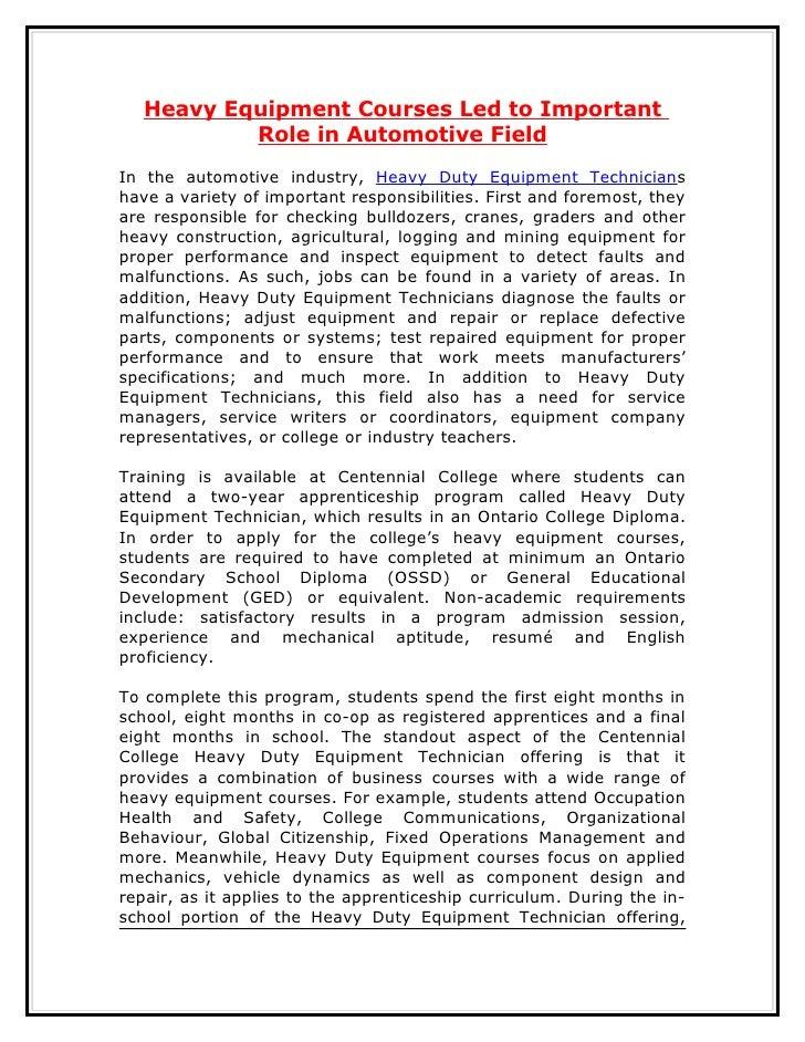 Heavy Equipment Courses Led to Important           Role in Automotive FieldIn the automotive industry, Heavy Duty Equipmen...