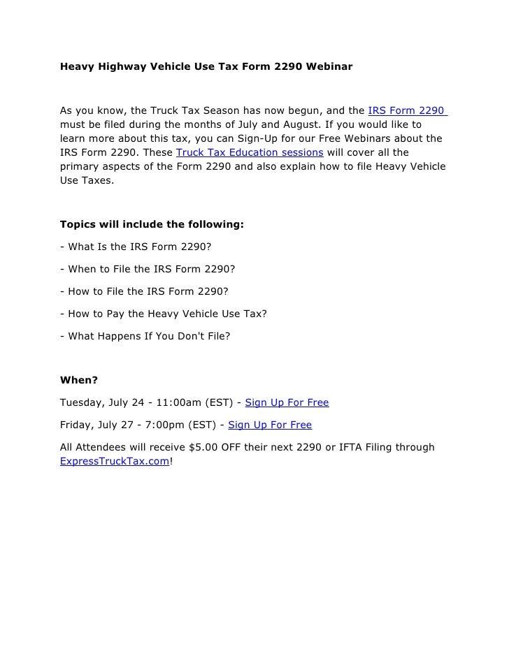 Heavy highway vehicle use tax form 2290 webinar