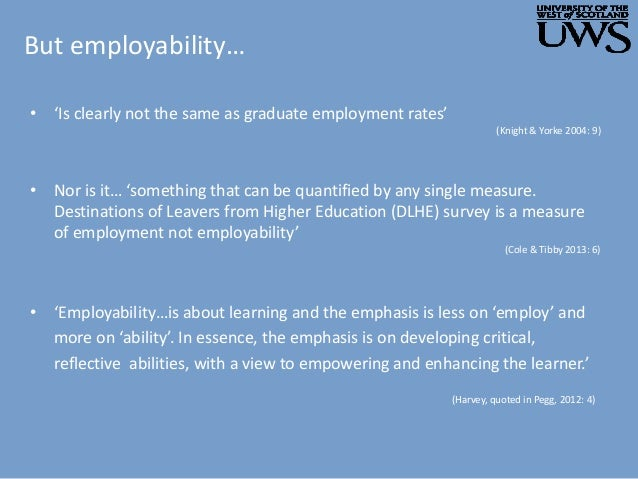 But employability… • 'Employability…is about learning and the emphasis is less on 'employ' and more on 'ability'. In essen...