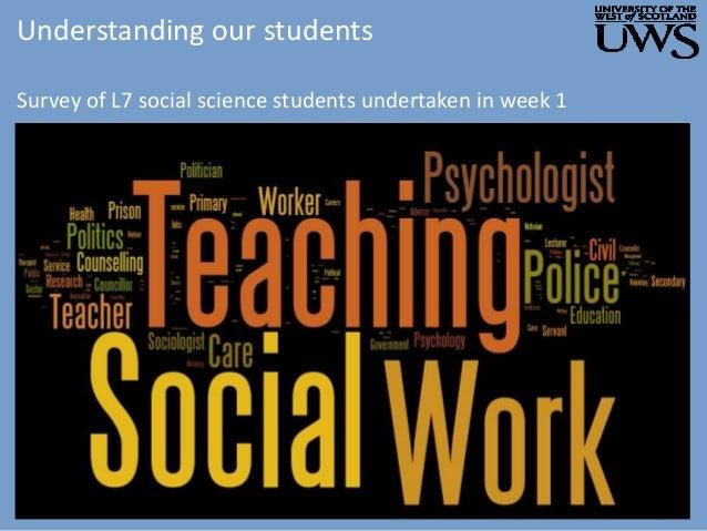Understanding our students Survey of L7 social science students undertaken in week 1