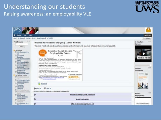 Understanding our students Raising awareness: an employability VLE