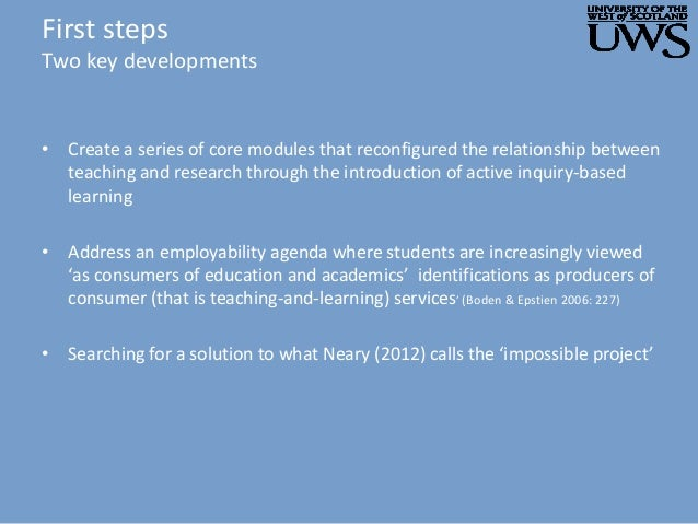 First steps Two key developments • Create a series of core modules that reconfigured the relationship between teaching and...