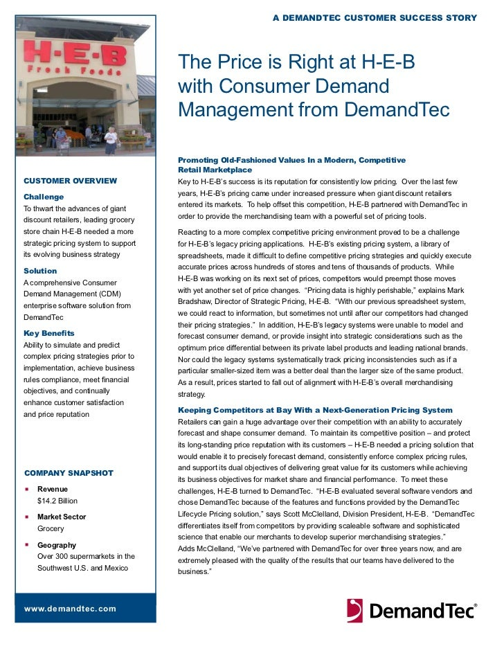 A DemAnDTeC CusTomer suCCess sTory                                      The Price is Right at H-E-B                       ...