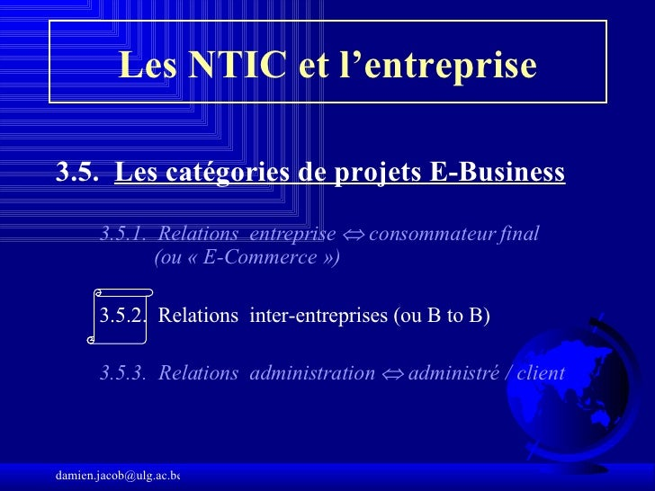 Les NTIC et l'entreprise <ul><li>3.5.  Les catégories de projets E-Business   </li></ul><ul><li> </li></ul><ul><ul><li>3 ...