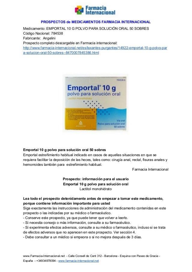 PROSPECTOSdeMEDICAMENTOSFARMACIAINTERNACIONAL Medicamento:EMPORTAL10GPOLVOPARASOLUCIÓNORAL50SOBRES Cód...